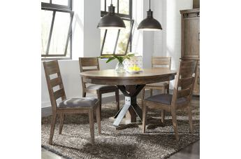 Liberty Furniture Sonoma Road 5-Piece Pedestal Dining Table Set in Weather Beaten Bark