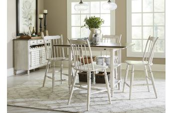 Liberty Furniture Oak Hill 5pc Center Island Dining Set in Tan Smoke/White