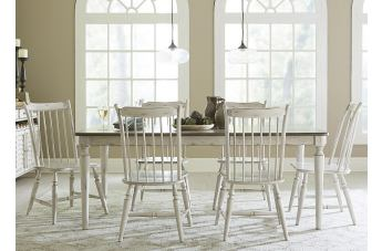 Liberty Furniture Oak Hill 7pc Rectangular Leg Dining Set in Tan Smoke/White