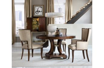 Hooker Furniture Skyline 5pc Round Dining Room Set in Cathedral Cherry