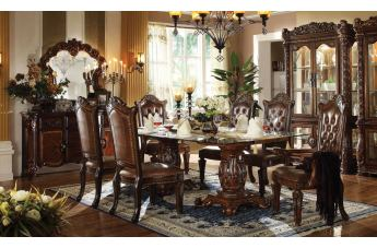 Acme Vendome 7PC Double Pedestal Dining Room Set with Glass Table Top in Cherry