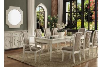 Acme Florissa 7pc Rectangular Dining Set in Antique White