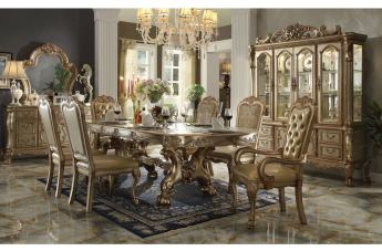 Acme Dresden 7-Piece Pedestal Dining Table Set in Gold Patina