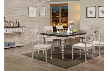 Acme Coyana 7pc Dining Room Set in Antique White/Gray