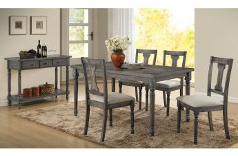 Acme Furniture Wallace 7pc Rectangular Dining Set in Weathered Gray