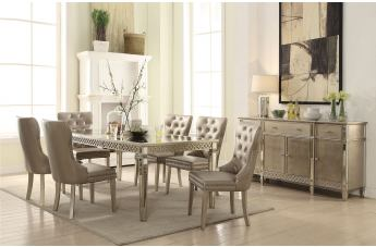 Acme Furniture Kacela 7pc Dining Set in Mirror and Champagne