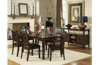 Homelegance Verona 7pc Dining Table Set in Distressed Amber