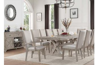 Acme Rocky 7pc Rectangular Dining Set in Gray Oak