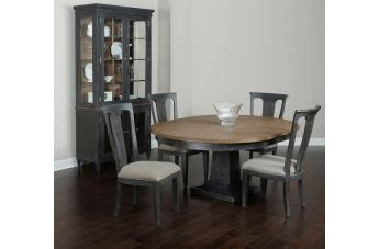 American Drew Ardennes Laurent 5pc Round Dining Room Set in Black Forest and Brindle