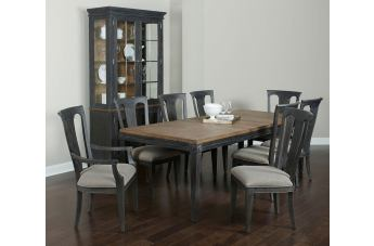 American Drew Ardennes Belmar 7pc Leg Dining Room Set in Black Forest and Brindle