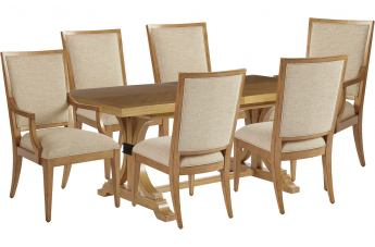 Barclay Butera Newport 7pc Oceanfront Rectangular Dining Set in Sandstone