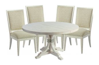 Barclay Butera Newport 5pc Magnolia Round Dining Set in Sailcloth