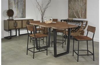 Coast to Coast Imports Sequoia 5-Piece Counter Height Dining Set in Honey Brown
