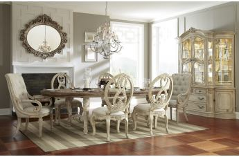 American Drew Jessica McClintock Boutique Oval Dining Table Set w/Upholstered Chairs in White Veil