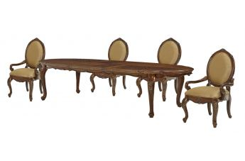 AICO Lavelle Melange 5-pc Oval Leg Dining Table Set in Warm Brown