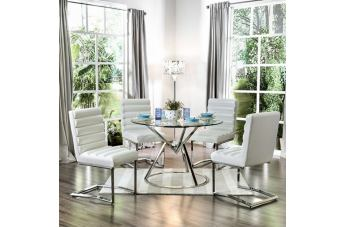 Furniture of America Livada I 5pc Round Dining Set in Chrome
