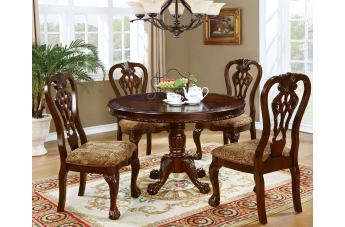 Furniture of America Elana 5pc Round Dining Set in Brown Cherry