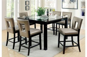 Furniture of America Evant II 7pc Counter Ht. Dining Set in Black