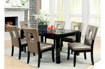 Furniture of America Evant I 7pc Dining Set in Black