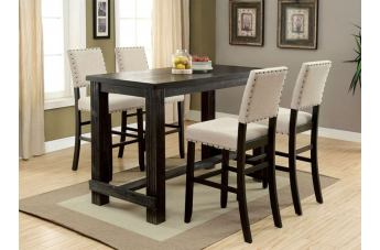 Furniture of America Sania II 7pc Bar Height Dining Set in Antique Black