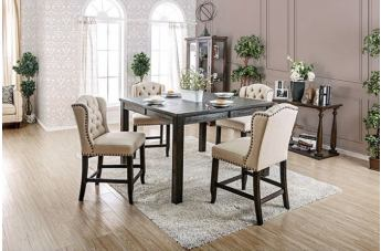 Furniture of America Sania III 5pc Counter Ht. Square Dining Set in Antique Black