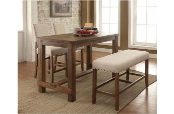 Furniture of America Sania 4pc Counter Ht. Table in Rustic Oak