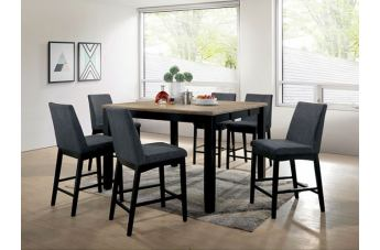 Furniture of America Mariam 7pc Dining Set Wire-Brushed Oak and Black