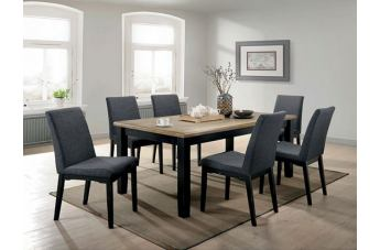 Furniture of America Mariam 7pc Rectangular Dining Set in Wire Brushed Oak