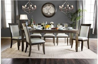 Furniture of America Forbes I 7pc Rectangular Dining Set in Gray