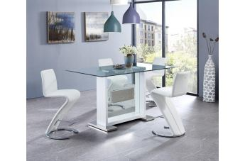 Global Furniture D1181 5 Piece Dining Table Set in White