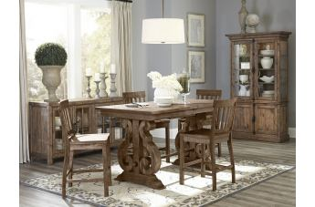 Magnussen Furniture Willoughby 5pc Rectangular Counter Height Dining Set in Weathered Barley