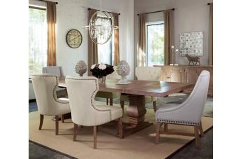 Coaster Donny Osmond Home Florence 7pc Rectangular Double Pedestal Dining Set in Natural