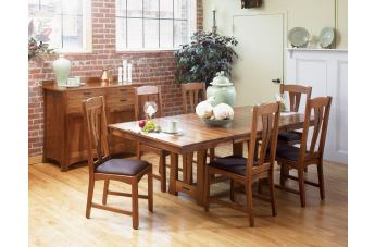 A-America Cattail Bungalow 7pc Trestle Table Dining Set in Amber