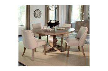 Coaster Donny Osmond Home Florence 5pc Round Pedestal Dining Set in Natural