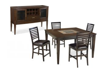 Intercon Furniture Kashi 5-Piece Square Gathering Set in Chocolate and Acacia