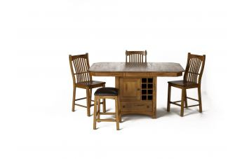 A-America Laurelhurst Gathering Height Table w/ Wine Storage Dining Set in Rustic Oak