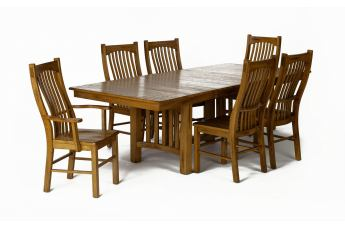 A-America Laurelhurst Trestle Dining Set in Rustic Oak CODE:UNIV20 for 20% Off