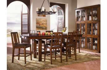 A-America Mesa Rustica Gathering Trestle Dining Set in Aged Mahogany CODE:UNIV20 for 20% Off