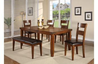 Crown Mark Figaro 6pc Dining Set in Warm Medium Brown