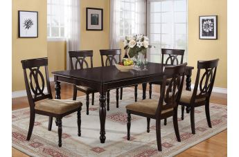 Crown Mark Diana 7pc Rectangular Dining Set in Dark Cappuccino