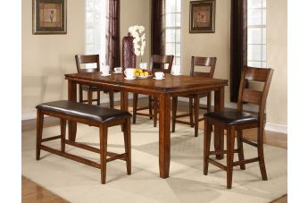 Crown Mark Figaro 6pc Counter Height Set in Warm Medium Brown