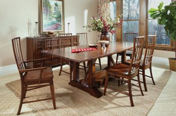 "Klaussner Blue Ridge 7-Piece 78"" Trestle Dining Set in Cherry"