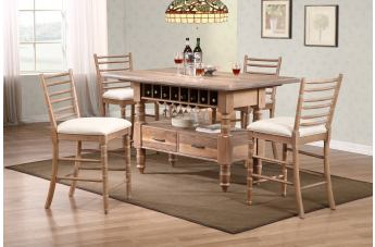 New Classic Furniture Cabana 5-Piece Counter Dining Set in Stone