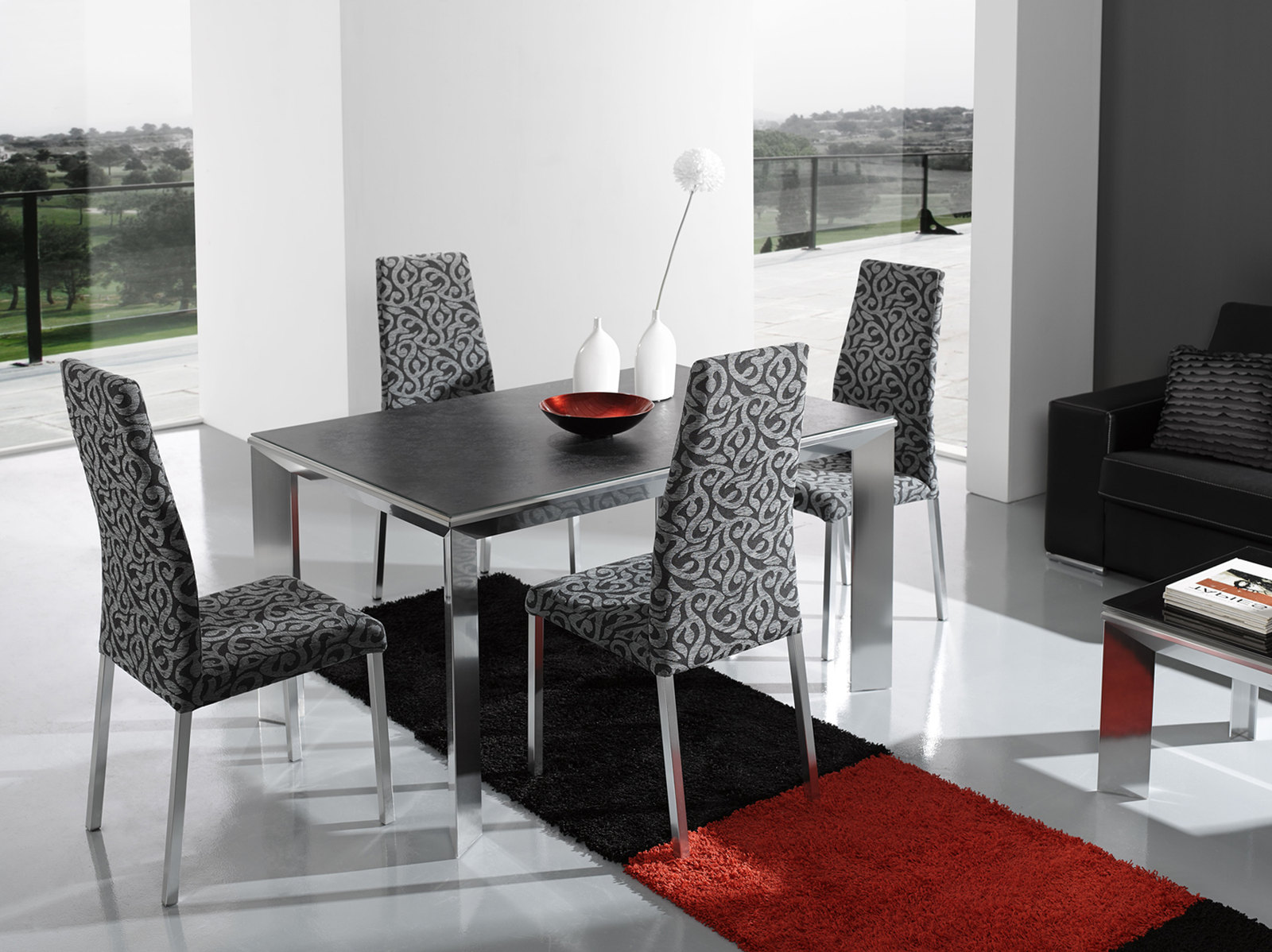 esf furniture nadia 5 piece dining room set in slate