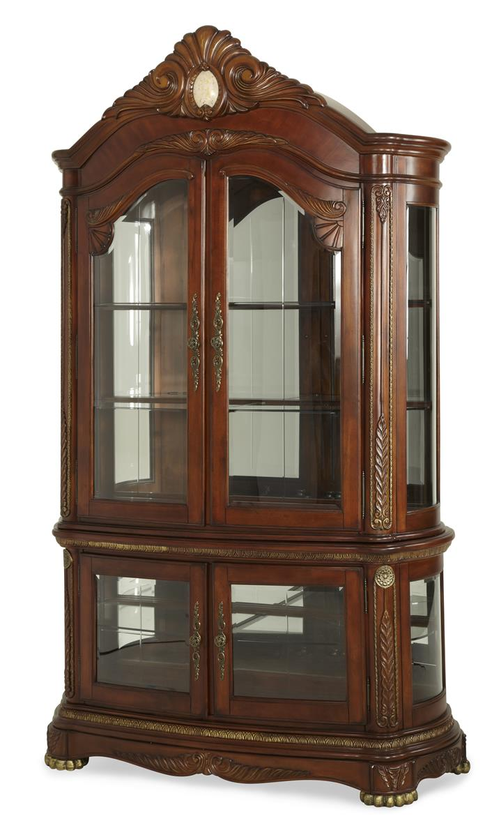 AICO Cortina Curio In Honey Walnut By Dining Rooms Outlet
