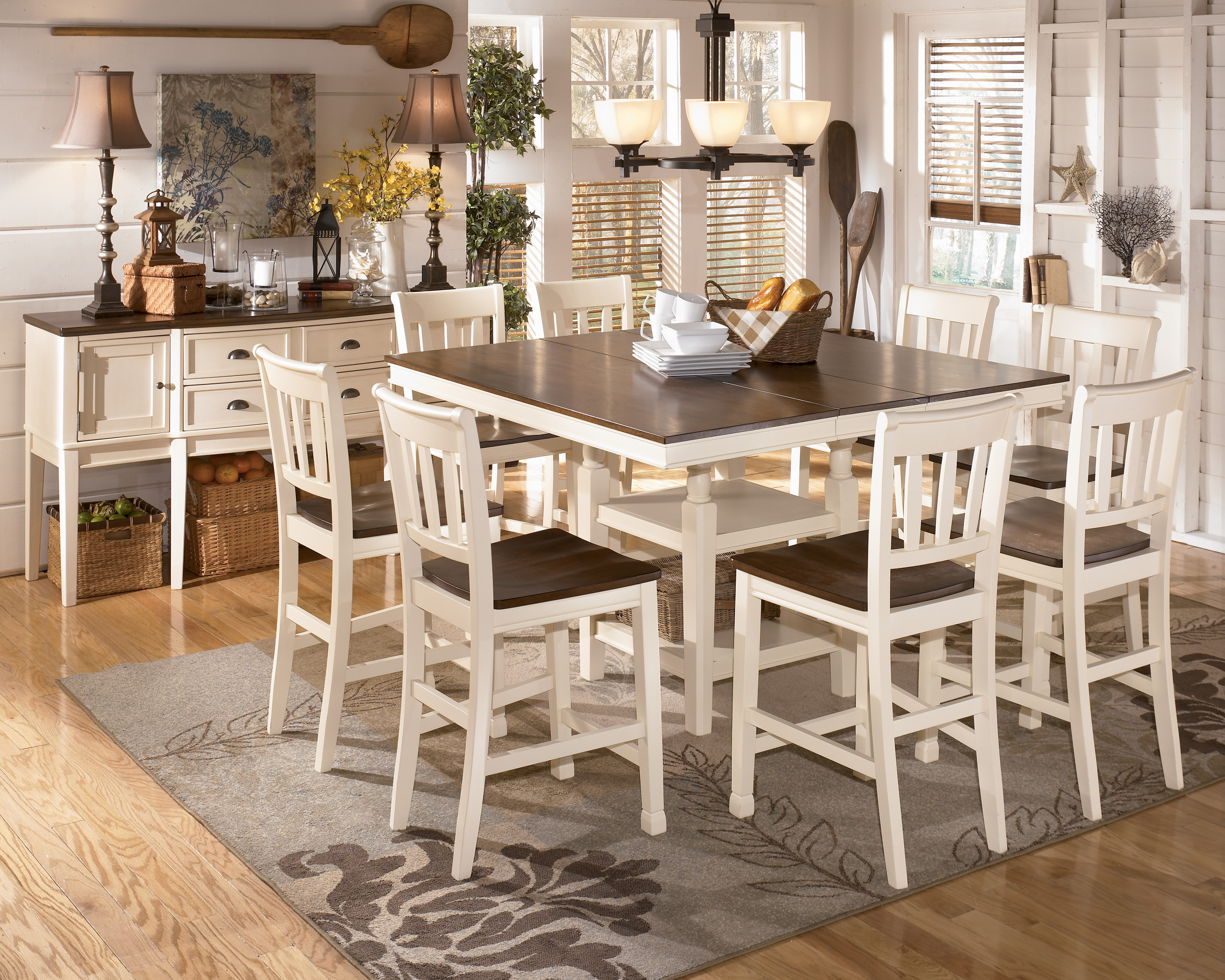Whitesburg 9 Piece Square Counter Height Extension Table Set in
