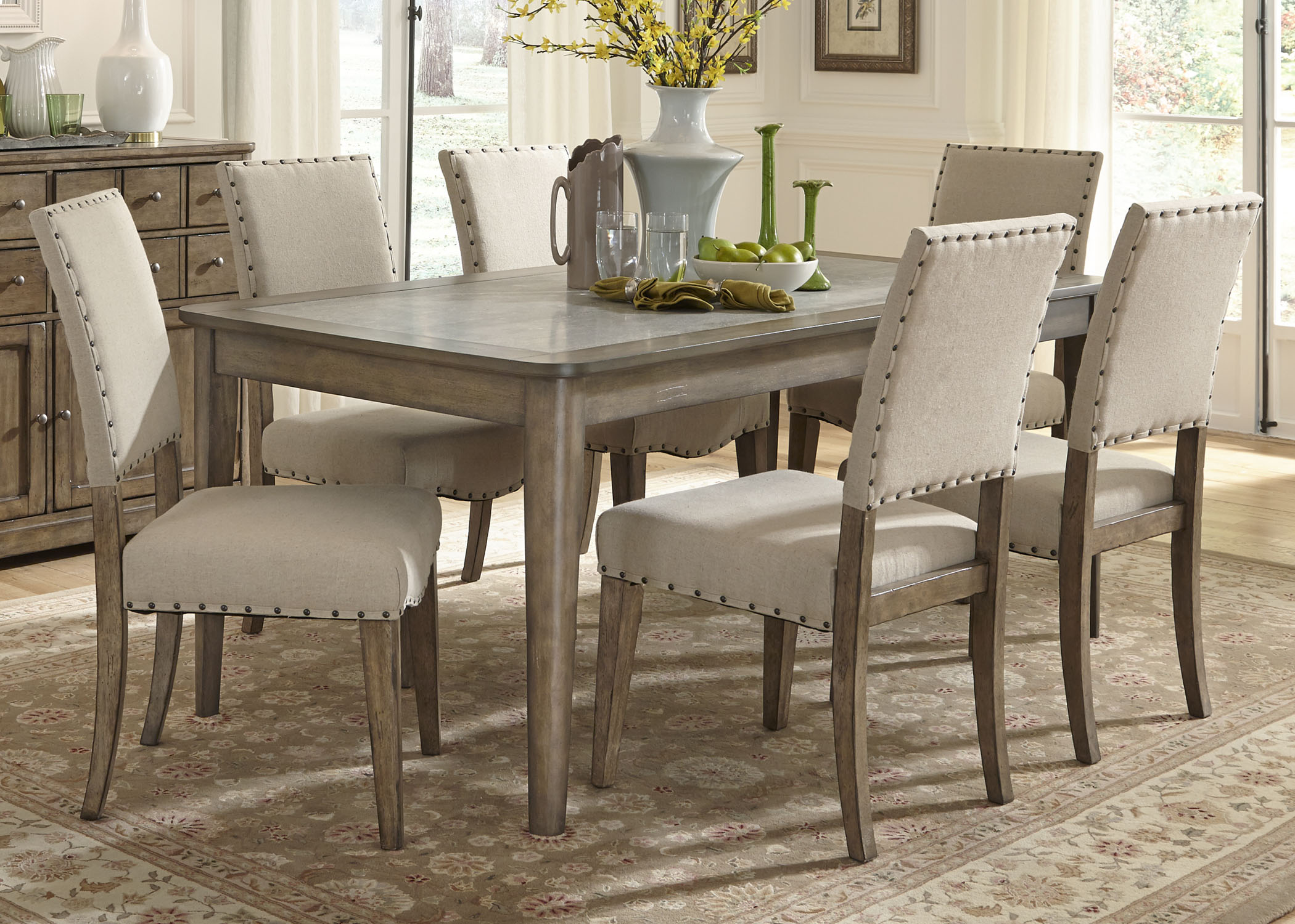 rectangular leg dining set in weathered gray by dining rooms outlet