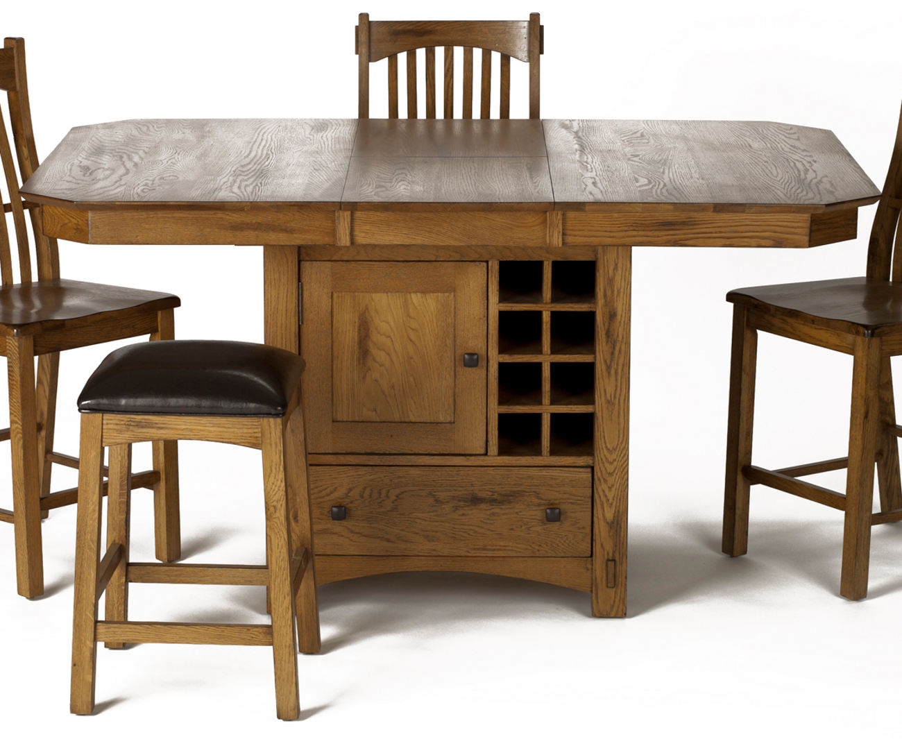A America Laurelhurst Gather Height Dining Table W Wine Storage In Rustic Oak Lauro6770 Code