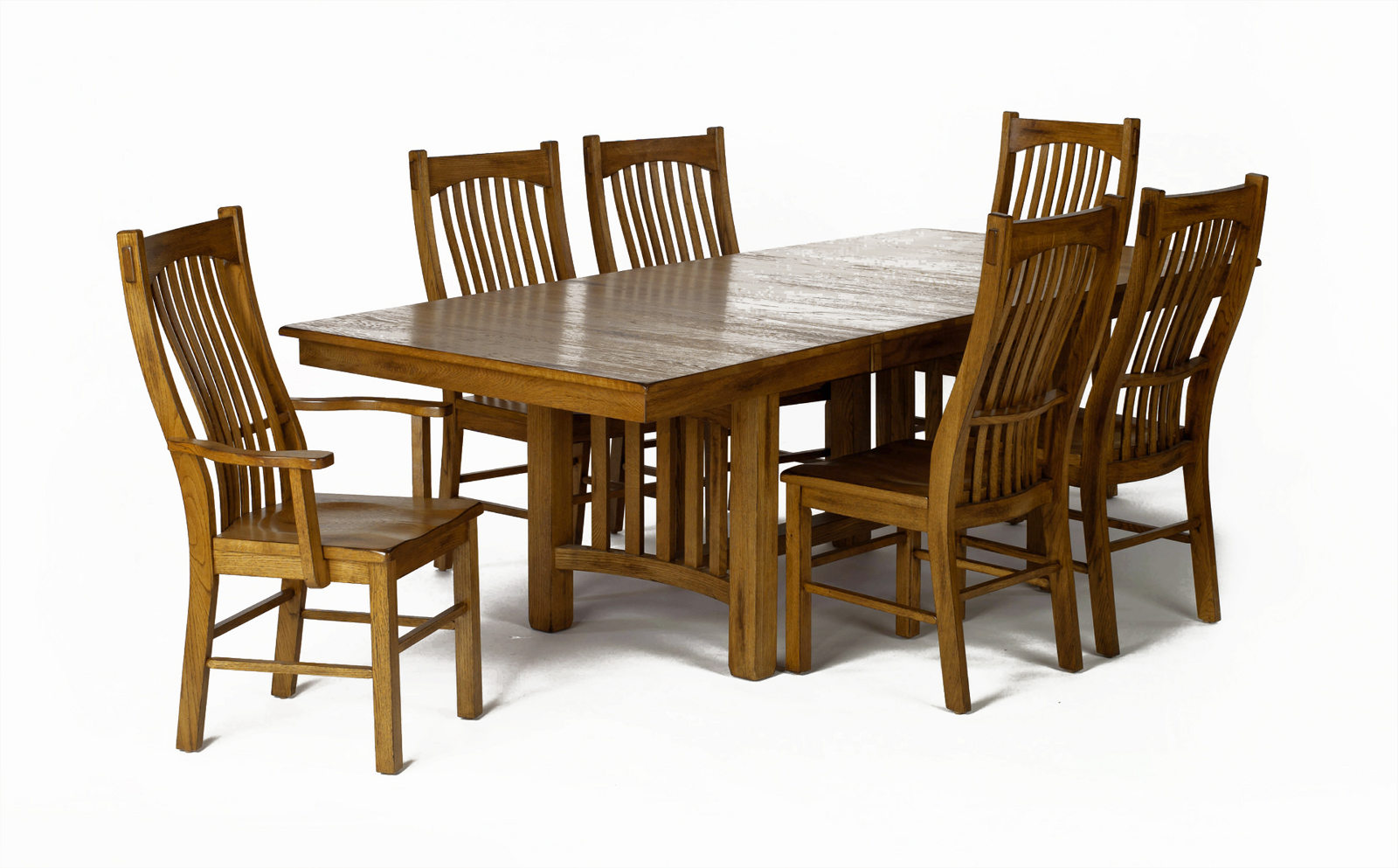 a america laurelhurst trestle dining set in rustic oak